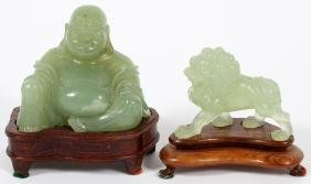 CHINESE CARVED HARDSTONE FIGURES TWO