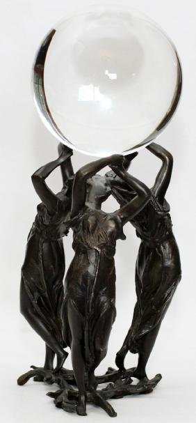 GLASS AND METAL FIGURAL GROUP TWO