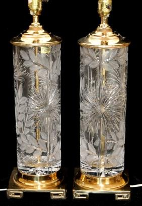 CUT CRYSTAL TABLE LAMPS PAIR