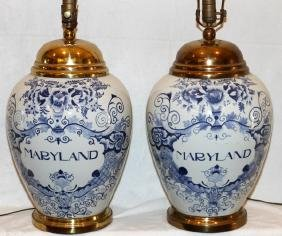 PORCELAIN TOBACCO JAR TABLE LAMPS PAIR