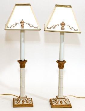 PORCELAIN CANDLESTICKS MOUNTED AS LAMPS PAIR