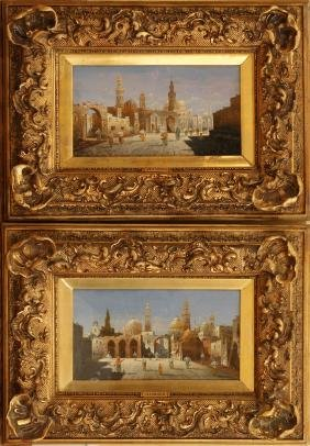 HENRI CARNIER OIL PAINTINGS ON BOARD PAIR