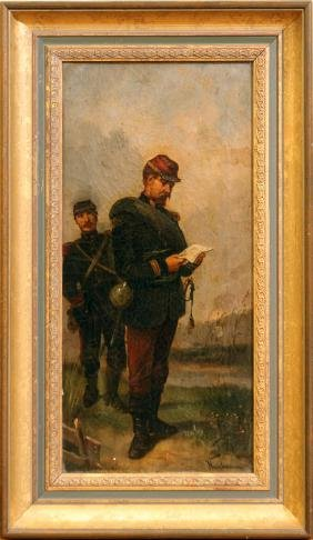 SIGNED NARBONNE OIL ON CANVAS OF FRENCH SOLDIER