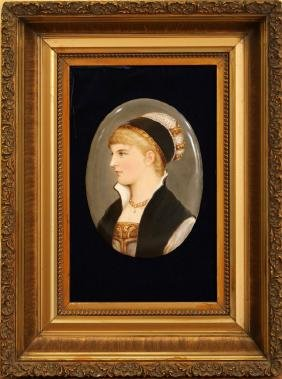 GERMAN OVAL PORCELAIN PORTRAIT OF A LADY