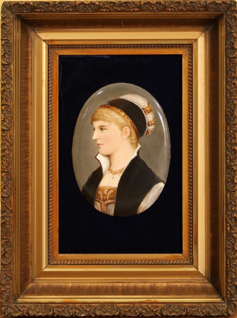 GERMAN OVAL PORCELAIN PORTRAIT OF A LADY