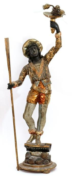 VENETIAN CARVED AND PAINTED WOOD GONDOLIER FIGURE