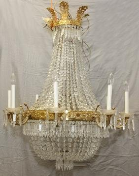 EMPIRE STYLE 8 LIGHT BRONZE AND CRYSTAL CHANDELIER