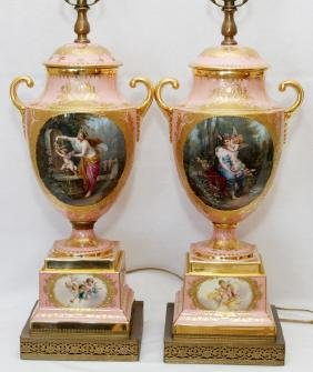 ROYAL VIENNA PORCELAIN URNS AS TABLE LAMPS