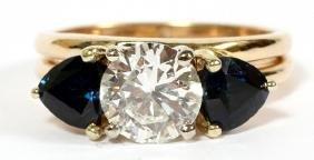 GOLD DIAMOND AND 1CT SAPPHIRE INTERLOCKING RINGS