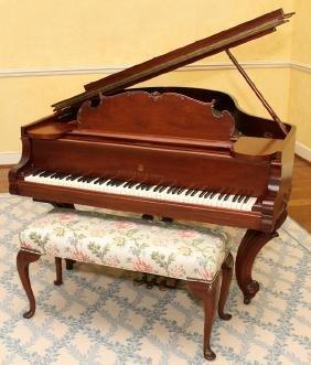 STEINWAY & SONS MAHOGANY GRAND PIANO AND BENCH 1908