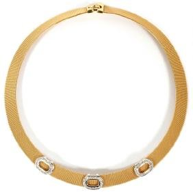 1CT DIAMOND AND 18KT GOLD MESH NECKLACE