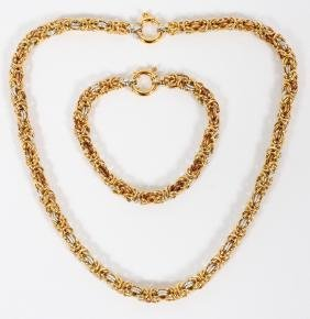 YELLOW AND WHITE GOLD LINK NECKLACE AND BRACELET