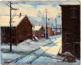 GORITZ OIL ON CANVAS WINTER STREET SCENE 1941