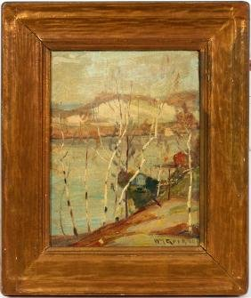 WILLIAM GREASON OIL ON CANVAS MOUNTED ON BOARD