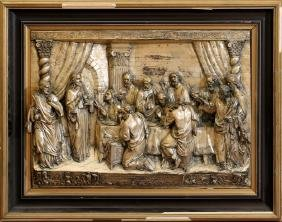 RELIEF PLAQUE IN SILVERED METAL