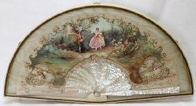 French Hand Painted Silk Fan 19th.c.