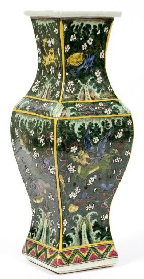 CHINESE SQUARE HAND PAINTED PORCELAIN VASE