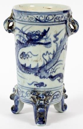 CHINESE BLUE AND WHITE DRAGON DESIGN PORCELAIN VASE