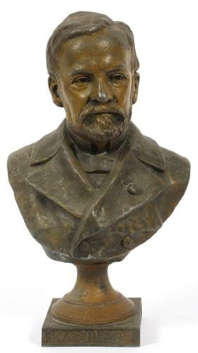 FRENCH SPELTER BUST OF LOUIS PASTEUR