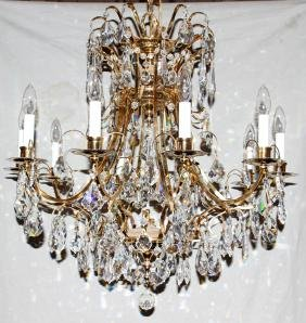 TEN-LIGHT BRONZE AND CRYSTAL CHANDELIER