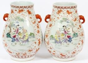 CHINESE HAND PAINTED CRIMSON FLORAL PORCELAIN VASES