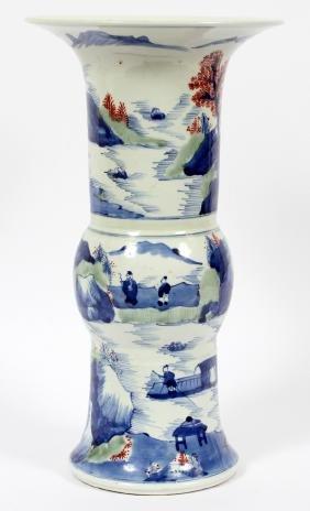 CHINESE BLUE & WHITE LANDSCAPE PORCELAIN VASES