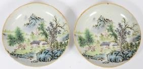 CHINESE HAND PAINTED PORCELAIN SHALLOW BOWLS PAIR