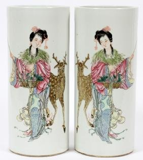 CHINESE HAND PAINTED PORCELAIN CYLINDER VASES PAIR