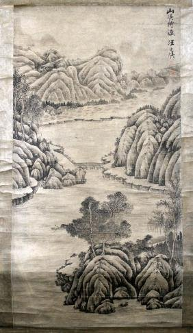 CHINESE SCROLL PAINTED ON SILK MOUNTAIN LANDSCAPE