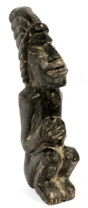 AFRICAN CARVED SEATED FIGURE