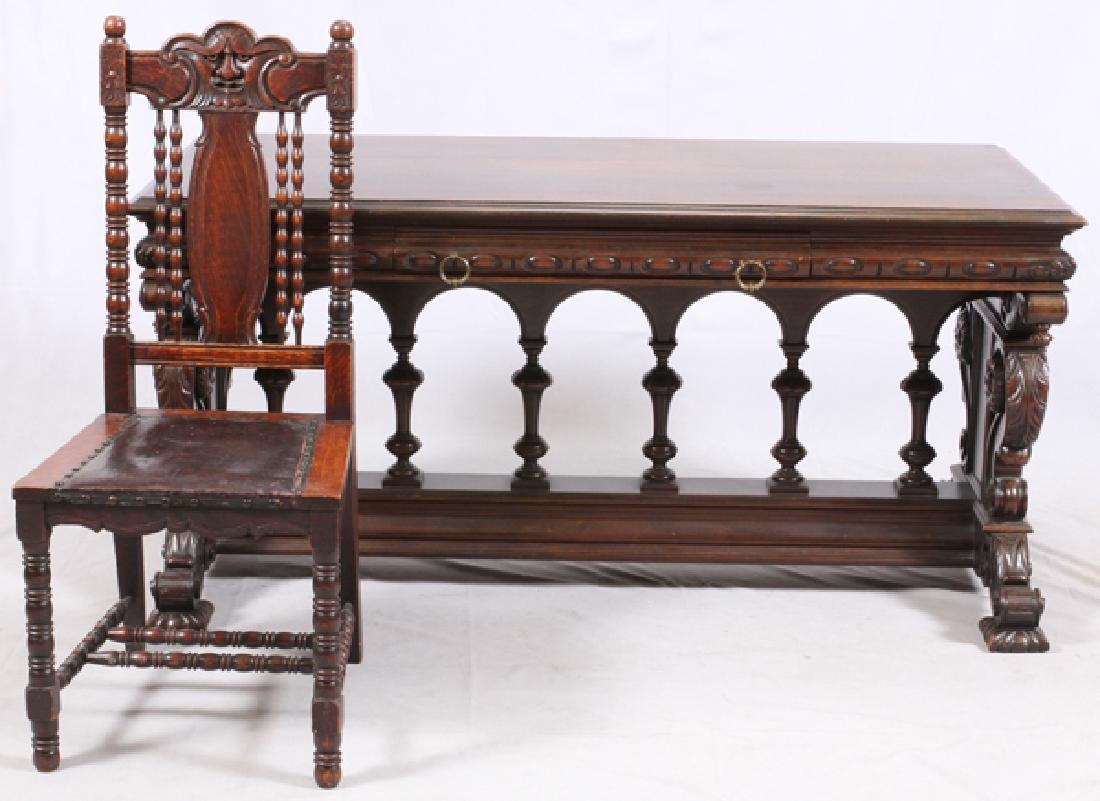 GOTHIC STYLE OAK LIBRARY TABLE AND CHAIR C1900