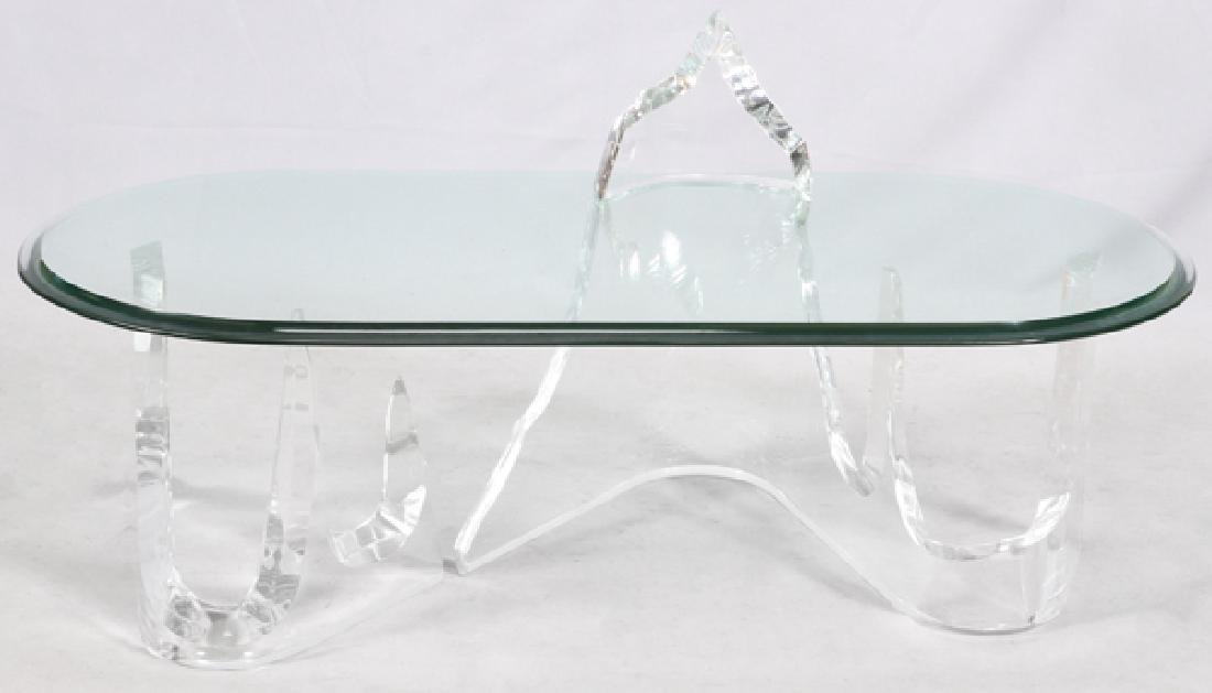 LION IN FROST ICEBERG GLASS COFFEE TABLE 4 PIECES