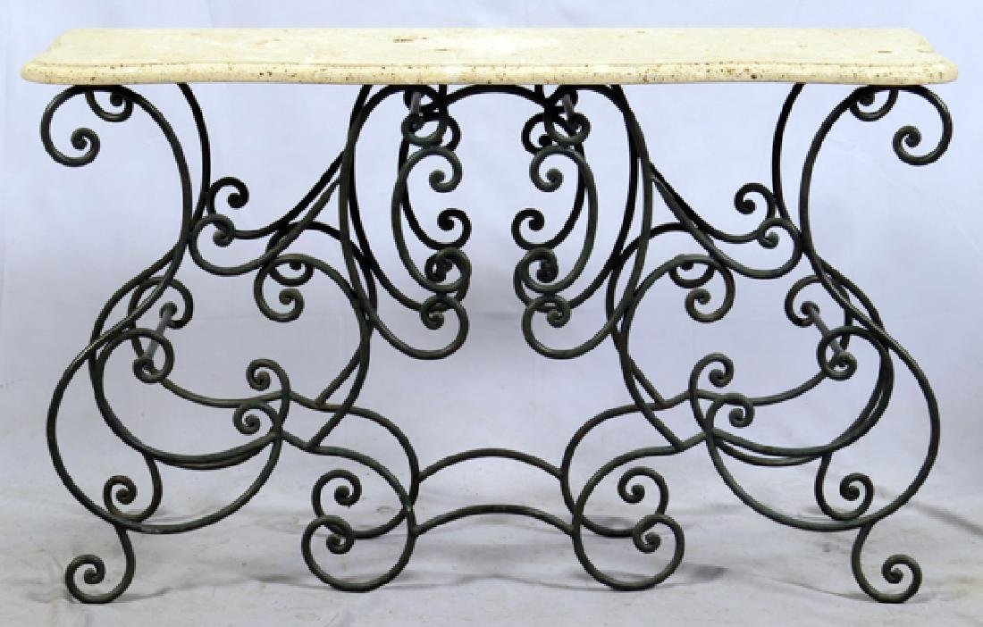 WROUGHT IRON WIRE CONSOLE TABLE W/ MARBLE TOP