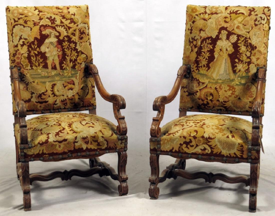 FRENCH HIGH BACK WALNUT ARM CHAIRS C1860 PAIR