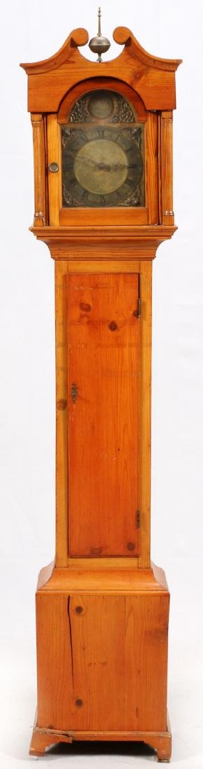 ENGLISH KNOTTY PINE GRANDMOTHER CLOCK C1850