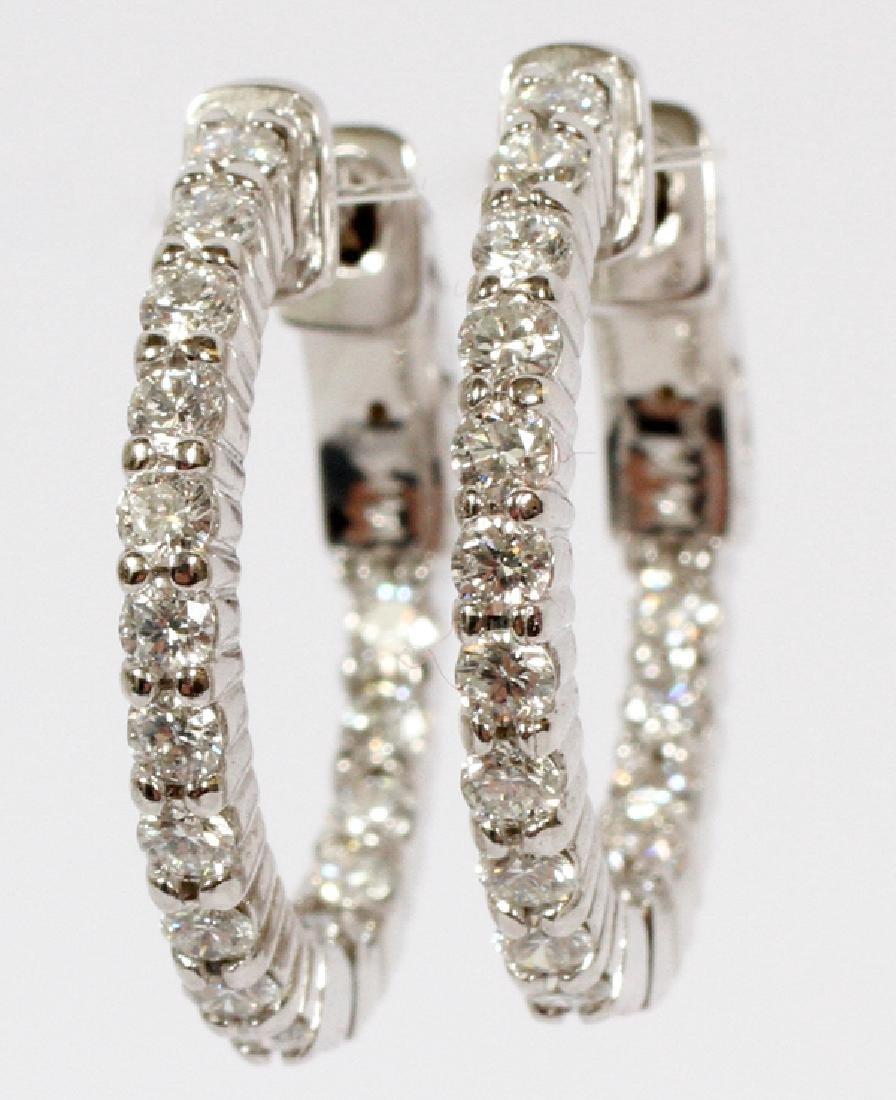 0.91CT DIAMOND AND 14KT WHITE GOLD HOOP EARRINGS