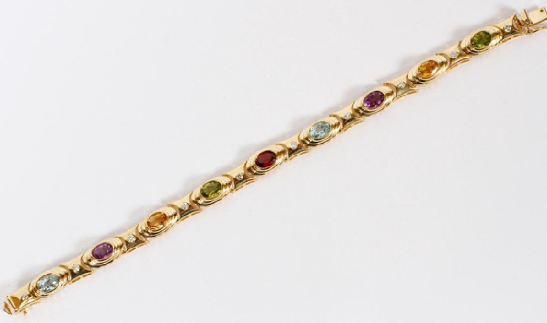 10CT GEMSTONE AND 14KT YELLOW GOLD BRACELET