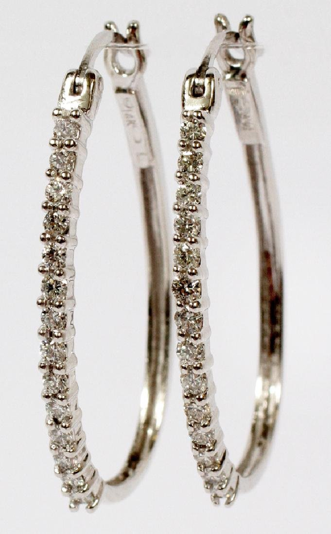 0.80CTS DIAMOND AND 14KT WHITE GOLD HOOP EARRINGS