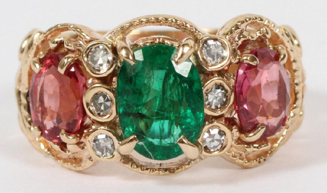 GEMSTONE AND 14KT YELLOW GOLD RING