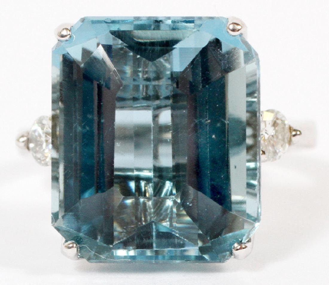 15.50CT BLUE TOPAZ AND DIAMOND RING