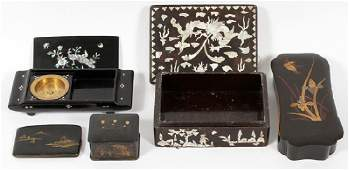 CHINESE MOTHER-OF-PEARL INLAY AND PAINTED BOXES
