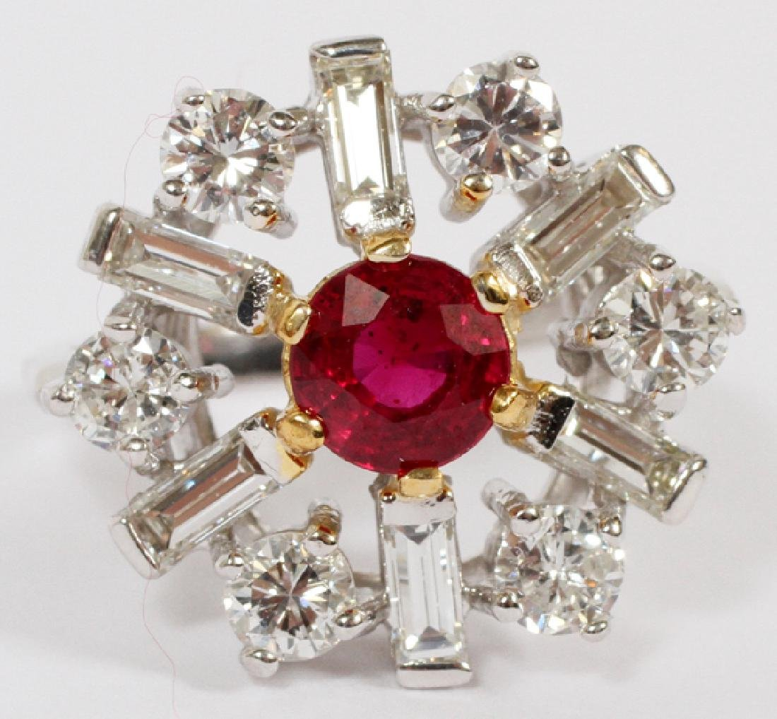 .95CT RUBY AND 1.5CT DIAMOND RING