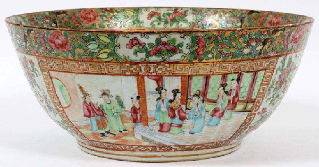 CHINESE ROSE MEDALLION PUNCH BOWL