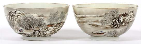 CHINESE EGG SHELL PORCELAIN BOWLS PAIR