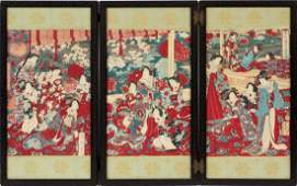 TRIPTYCH JAPANESE WOODBLOCKS AS TABLE SCREEN