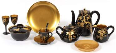 JAPANESE LACQUER TABLEWARE AND TEA SET