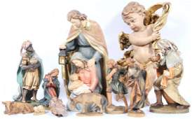 ITALIAN AND GERMAN CARVED WOOD CRECHE FIGURES