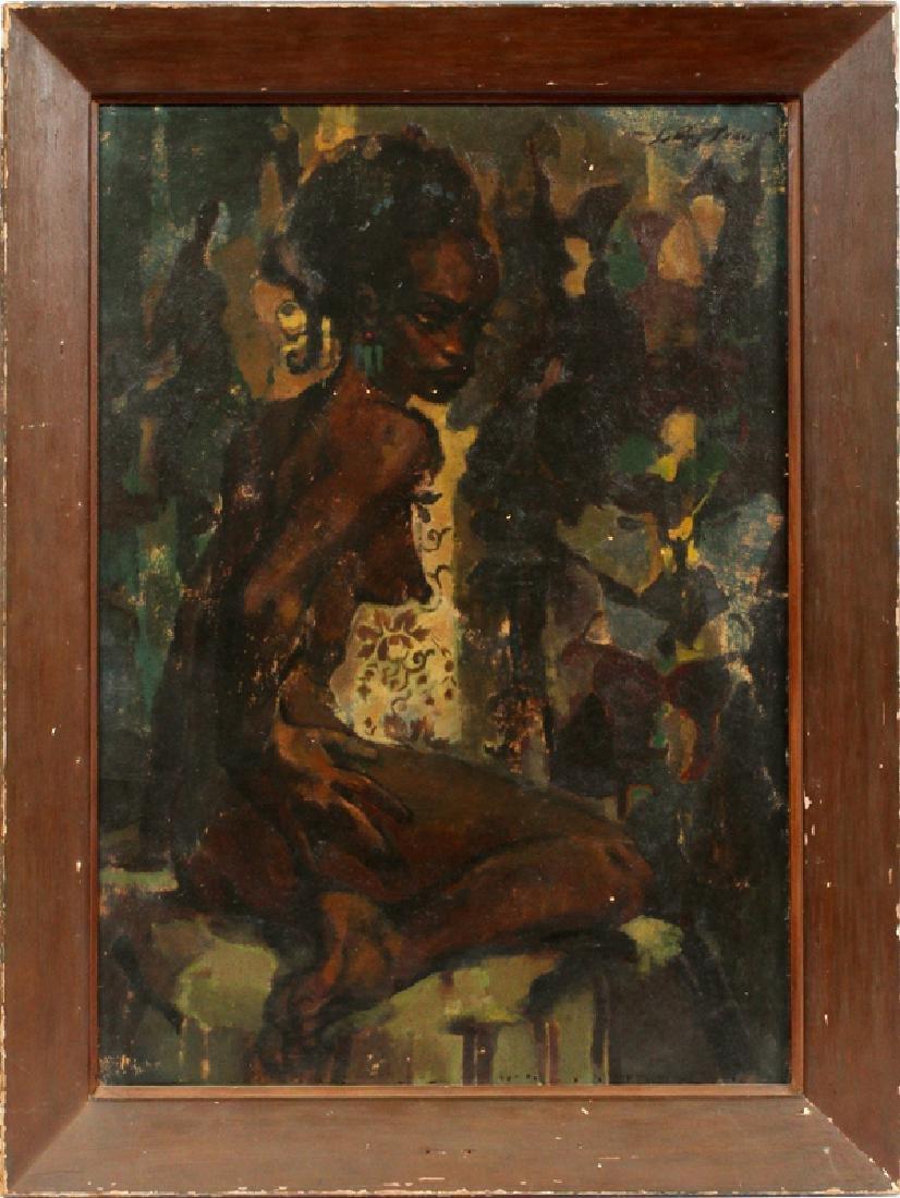 LEROY FOSTER OIL ON BOARD SEATED BLACK FEMALE NUDE