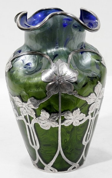 091003: LA PIERRE SILVER-OVERLAY ART GLASS VASE, AS IS