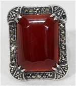 091229 ART DECO STERLING SILVER MARCASITE RING C1920